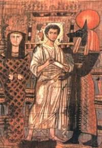 Погребальная пелена с изображением умершего, Осириса и Анубиса