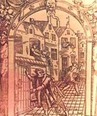 Улочка средневекового города. Гравюра