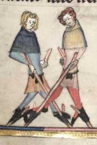 Жители средневековых городов передвигаются по улицам на ходулях