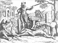 Зверства испанцев в Новом Свете. Старинная гравюра