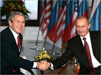 Буш и Путин поспорят о демократии, несмотря на дружбу