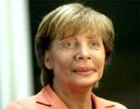 Бундесканцлер(ин) Ангела Меркель - дитя неандертальца. Коллаж