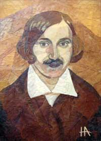 Двухвекового Гоголя сделали из сухих листьев и бумаги