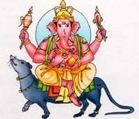 Божество Ганеша на мыши