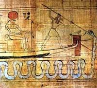 Сетх, побивающий демона-змея Апопа у носа Солнечной ладьи в ином