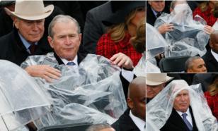 Буш не смог справиться с дождевиком на инаугурации Трампа
