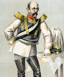 Политик из сельских дворян, который своими трудами создал германскую империю, ставшую причиной двух мировых войн. Бисмарк в этом не виновен. Он был против войны с Россией. Великий человек в карикатурах своих противников.