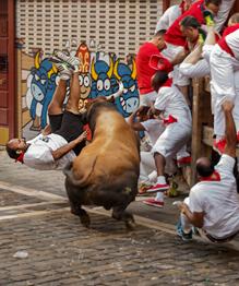 Фестиваль Сан-Фермин в испанской Памплоне, начавшийся в эту среду,в этом году обещает стать одним из самых кровавых. В первый день ежегодного празднества, которое продлится до 14 июля, пострадали шесть человек.