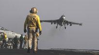 После того как президент США Барак Обама дал официальное разрешение на авиаудары против исламских боевиков, на американском авианосце  Джордж Буш  прошли тактические учения с выполнением авиационных полетов.